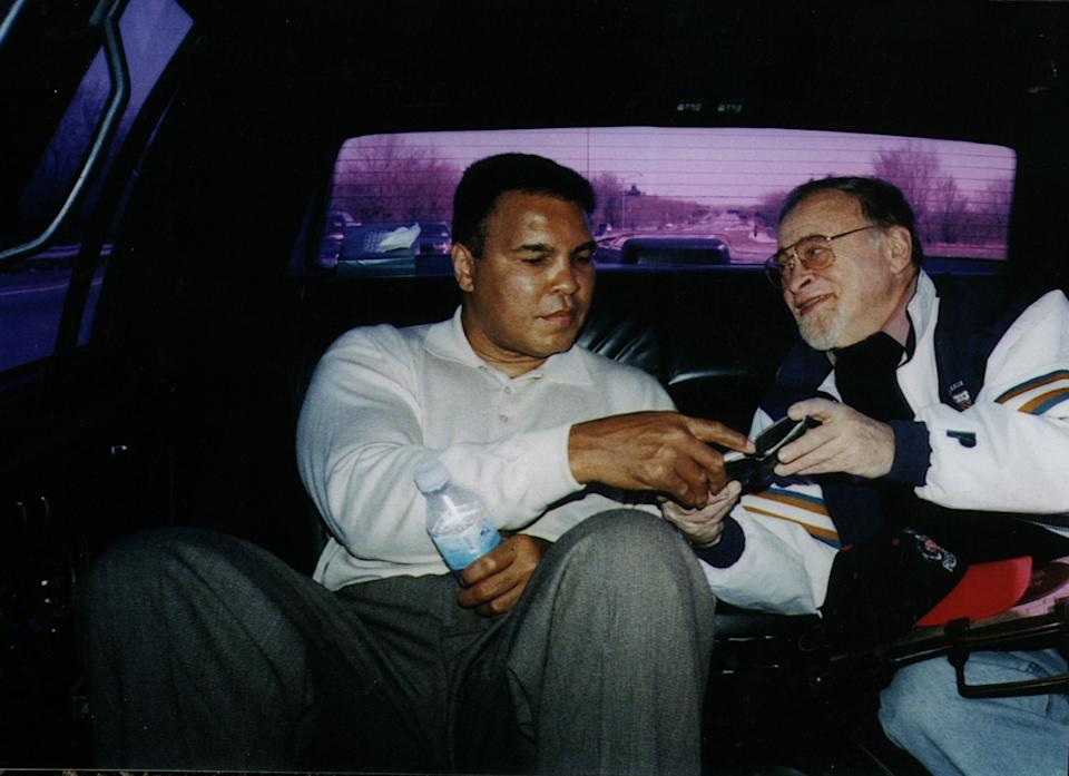 Muhammad Ali and Jerry Izenberg in 1991. (From the private collection of Jerry Izenberg)