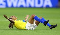 Marta of Brazil reacts during the 2019 FIFA Women's World Cup France Round Of 16 match between France and Brazil at Stade Oceane on June 23, 2019 in Le Havre, France. (Photo by Martin Rose/Getty Images)