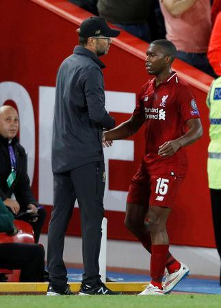 Soccer Football - Champions League - Group Stage - Group C - Liverpool v Paris St Germain - Anfield, Liverpool, Britain - September 18, 2018 Liverpool's Daniel Sturridge with manager Juergen Klopp after being substituted off REUTERS/Phil Noble