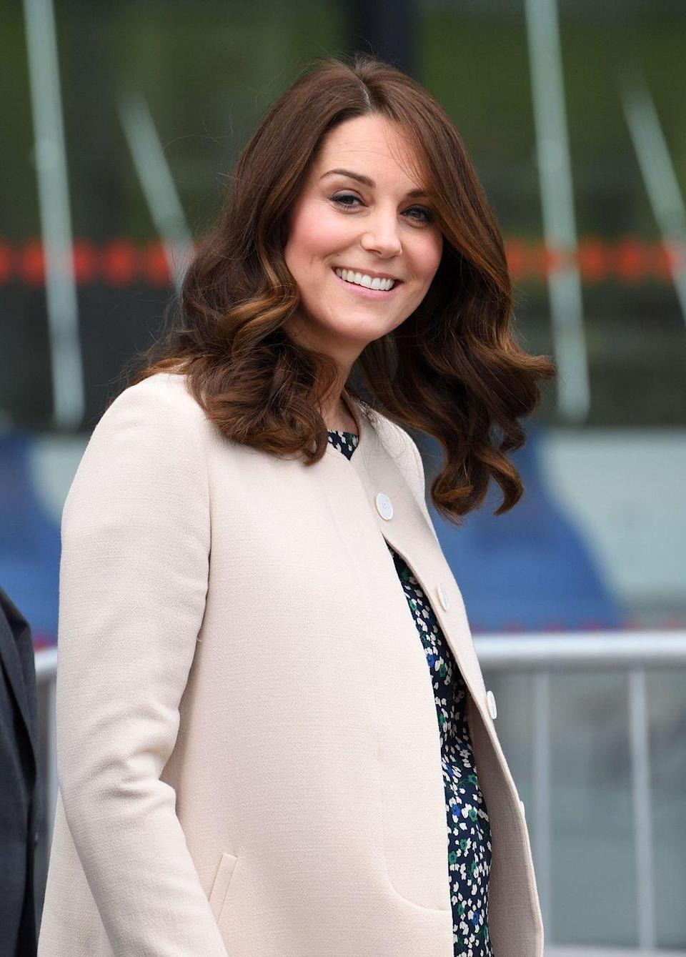 <p>Kate Middleton debuted a shorter haircut for her third pregnancy. The lob makes her signature ringlets look even bouncier than usual.</p>