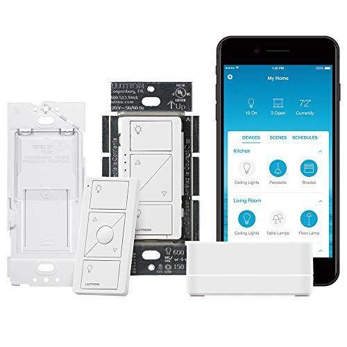 """<p><strong>Lutron</strong></p><p>amazon.com</p><p><strong>$99.95</strong></p><p><a href=""""https://www.amazon.com/dp/B07G5V6M6G?tag=syn-yahoo-20&ascsubtag=%5Bartid%7C10055.g.399%5Bsrc%7Cyahoo-us"""" rel=""""nofollow noopener"""" target=""""_blank"""" data-ylk=""""slk:Shop Now"""" class=""""link rapid-noclick-resp"""">Shop Now</a></p><p>With these smart plugs, he'll be able to set the mood with dimmed lights at the touch of a button. He can even connect it with Amazon Alexa, the Google Assistant, and Nest to schedule lights on a timer.</p>"""