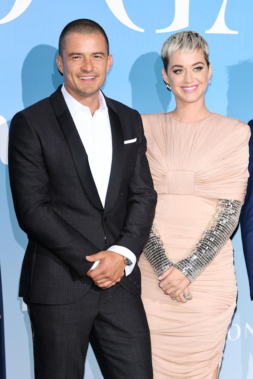 Orlando Bloom and Katy Perry attend the Gala for the Global Ocean hosted by H.S.H. Prince Albert II of Monaco at Opera of Monte-Carlo on September 26, 2018 in Monte-Carlo, Monaco.  (Photo by Daniele Venturelli/Daniele Venturelli/ Getty Images)