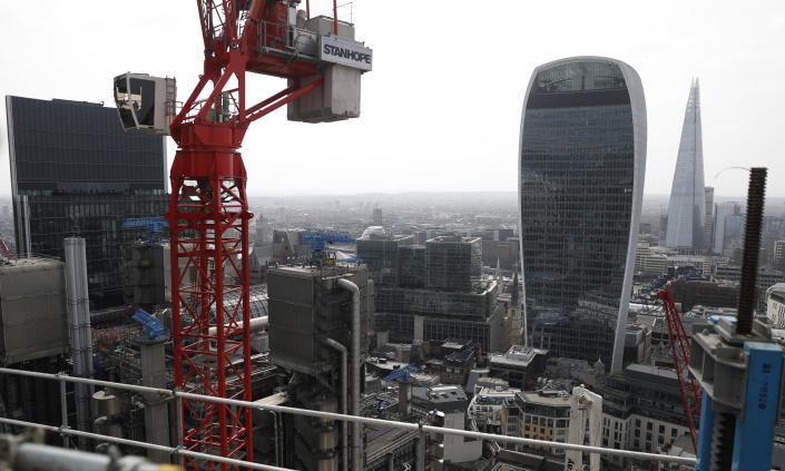 A view from the top of the north central column of the 8 Bishopsgate development in London, Thursday, April 1, 2021. When the pandemic struck, about 540,000 workers vanished from London's financial hub almost overnight. Developers of 8 Bishopsgate, are confident that when construction ends late next year, workers and firms will return to fill all 50 floors of the gleaming new office space. (AP Photo/Alastair Grant)