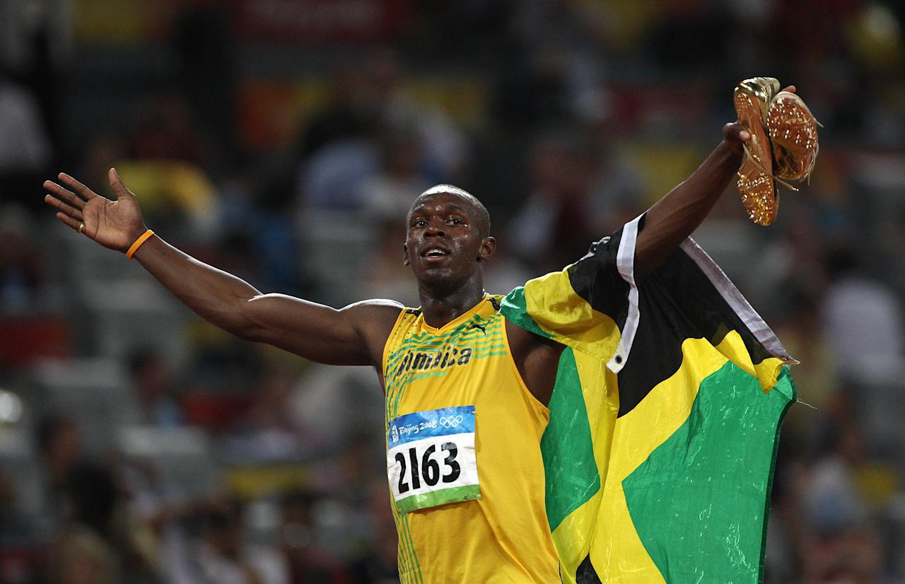 <p>At the 2008 Beijing Olympics, Jamaican sprinter Usain Bolt broke the world and Olympic records in the 100-meter and 200-meter. He also set a 4×100-meter relay record, becoming the first athlete to win three sprinting events at a single Games since Carl Lewis in 1984. (Getty) </p>