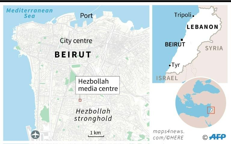 Map showing Hezbollah's stronghold in southern Beirut (AFP Photo/)