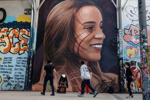 Mural, outside the former SNIA Viscosa factory, by the street artist Jorit Agoch which portrays depicting Luana D'Orazio, a 22-year-old girl who died while working in a textile company near Prato, in Rome, Italy, 7 May 2021.  ANSA/GIUSEPPE LAMI (Photo: GIUSEPPE LAMI/ANSA)