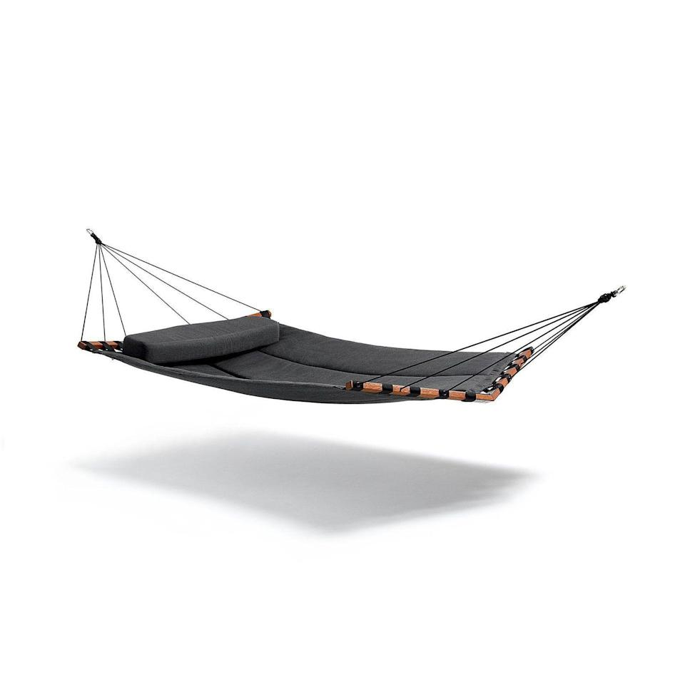 """<p><strong>Lujo</strong></p><p>Lujo</p><p><strong>$1495.00</strong></p><p><a href=""""https://www.lujoliving.com/collections/designer-hammocks/products/quilted-hammock-double"""" rel=""""nofollow noopener"""" target=""""_blank"""" data-ylk=""""slk:Shop Now"""" class=""""link rapid-noclick-resp"""">Shop Now</a></p><p>The quilted detailing on this two-person hammock (made from Sunbrella fabrics) provides extra comfort while relaxing by yourself or with someone else.</p>"""