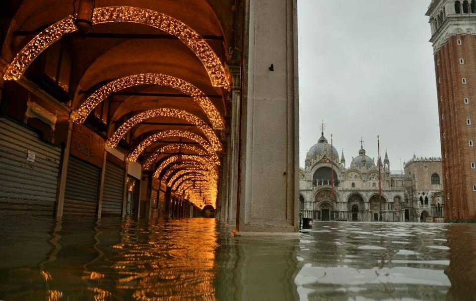 A flooded St Mark's Square as Venice is lashed with heavy rain.