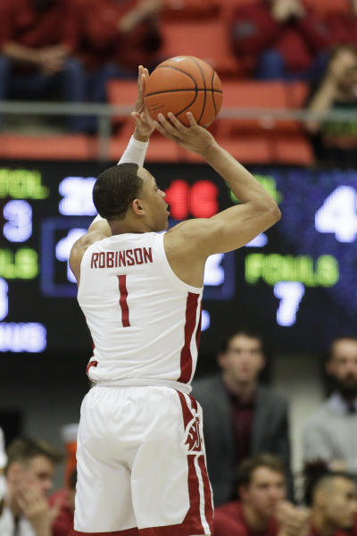 Washington State guard Jervae Robinson shoots during the second half of the team's NCAA college basketball game against California in Pullman, Wash., Wednesday, Feb. 19, 2020. California won 66-57. (AP Photo/Young Kwak)