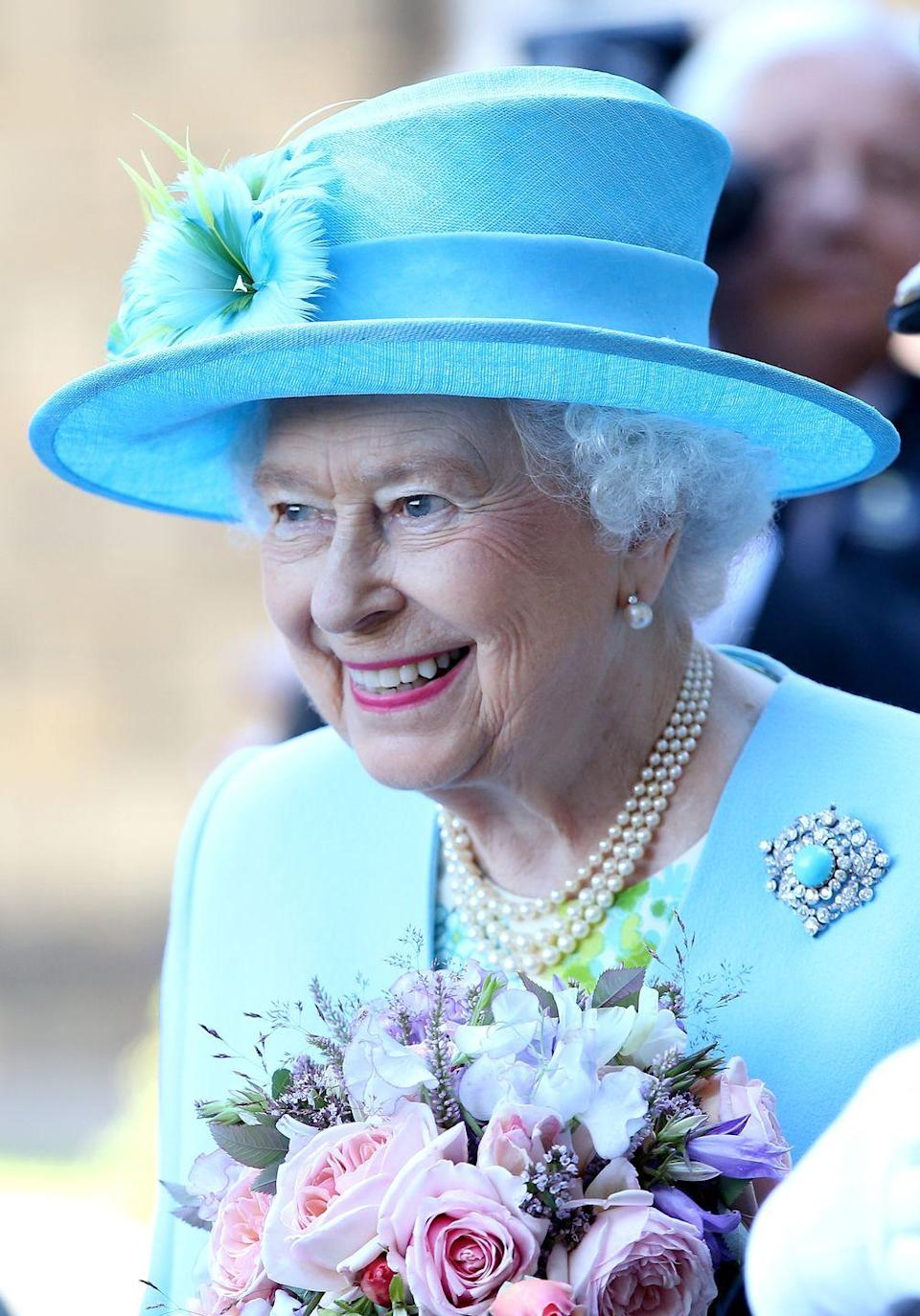 <p>Since inheriting the aforementioned turquoise and diamond brooch from Queen Mary in 1953, Queen Elizabeth didn't wear the piece in public until 2014, for a visit to Chatsworth House in July of that year. Queen Mary received the jewel in 1893 as a wedding gift from her in-laws, the future King Edward VII and Queen Alexandra. </p>