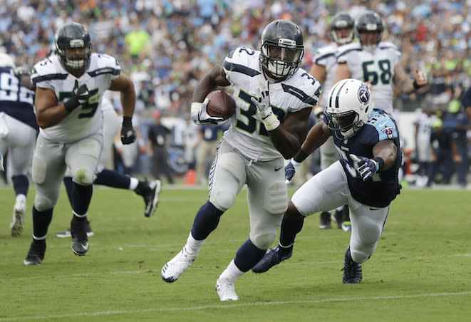 "A healthy <a class=""link rapid-noclick-resp"" href=""/nfl/players/30362/"" data-ylk=""slk:Chris Carson"">Chris Carson</a> could sprout wings and fly for fantasy purposes in 2018. (AP Photo/James Kenney)"
