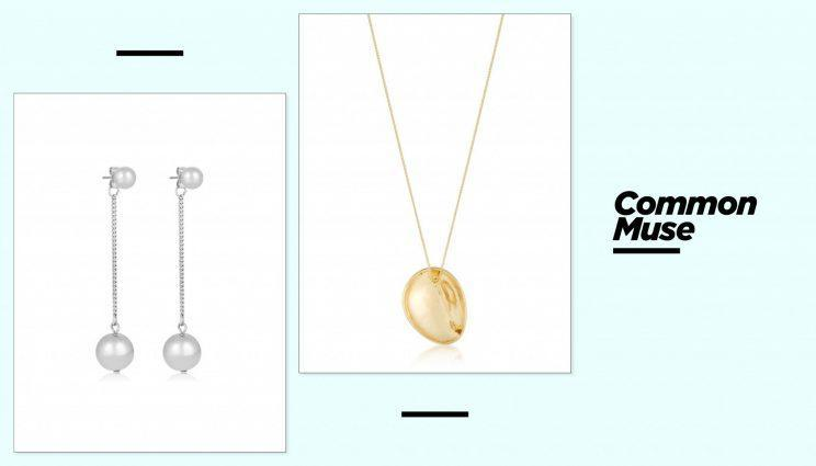 Common Muse Nelle Ball earrings, left, and Losa brooch necklace. (Photo: Courtesy of Common Muse)