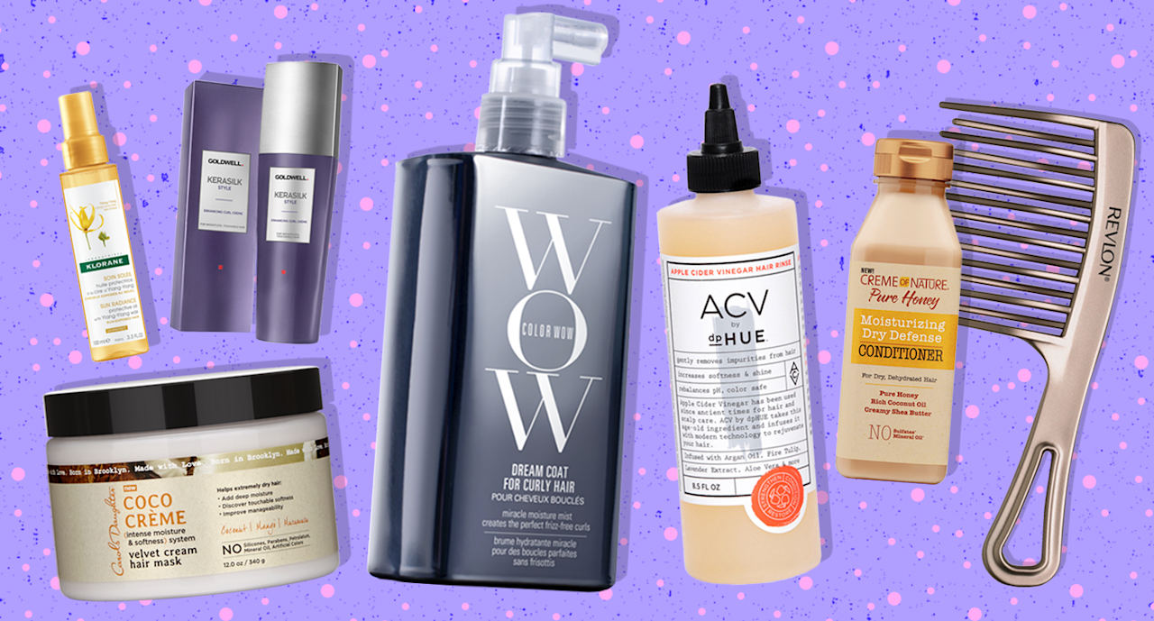<p>Curly hair products to help you survive the summer like a pro. (Photos: Courtesy of brands; Art by Quinn Lemmers for Yahoo Lifestyle) </p>