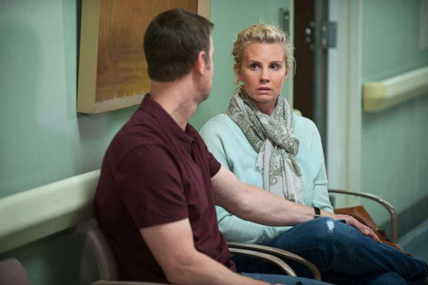 PHOTO: Peter Krause, as Adam Braverman, and Monica Potter, as Kristina Braverman, in a scene from 'Parenthood.' (Colleen Hayes/NBCUniversal via Getty Images)