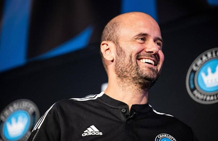 Charlotte FC's new Head Coach Miguel Ángel Ramírez smiles at a press conference in Charlotte, N.C., on Thursday.
