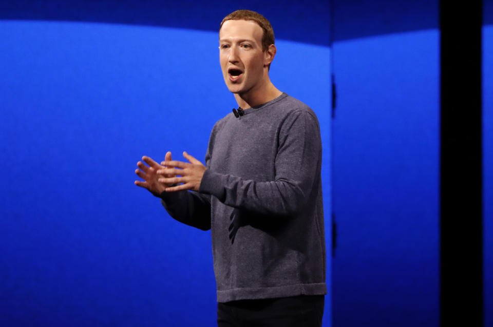 Facebook CEO Mark Zuckerberg makes his keynote speech during Facebook Inc's annual F8 developers conference in San Jose, California, U.S., April 30, 2019.  REUTERS/Stephen Lam