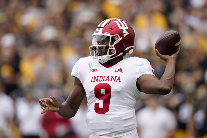 Indiana quarterback Michael Penix Jr. (9) throws a pass during the first half of an NCAA college football game against Iowa, Saturday, Sept. 4, 2021, in Iowa City, Iowa. (AP Photo/Charlie Neibergall)