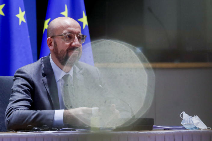 European Council President Charles Michel chairs a EU summit video conference at the European Council headquarters in Brussels, Thursday, Jan. 21, 2021. Worried that the new coronavirus variants could result in another surge of deaths across the European Union and push hospitals to the verge of collapse, EU leaders will assess in a video summit Thursday such measures as further border restrictions, better tracking of mutations and improving coordination of lockdowns. (Olivier Hoslet, Pool Photo via AP)