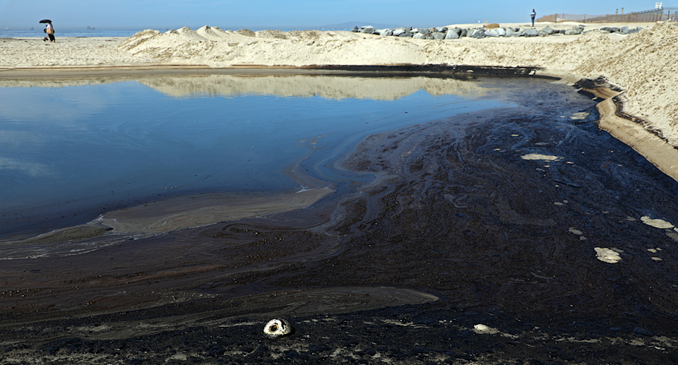 Newport Beach waters can been seen black with oil.