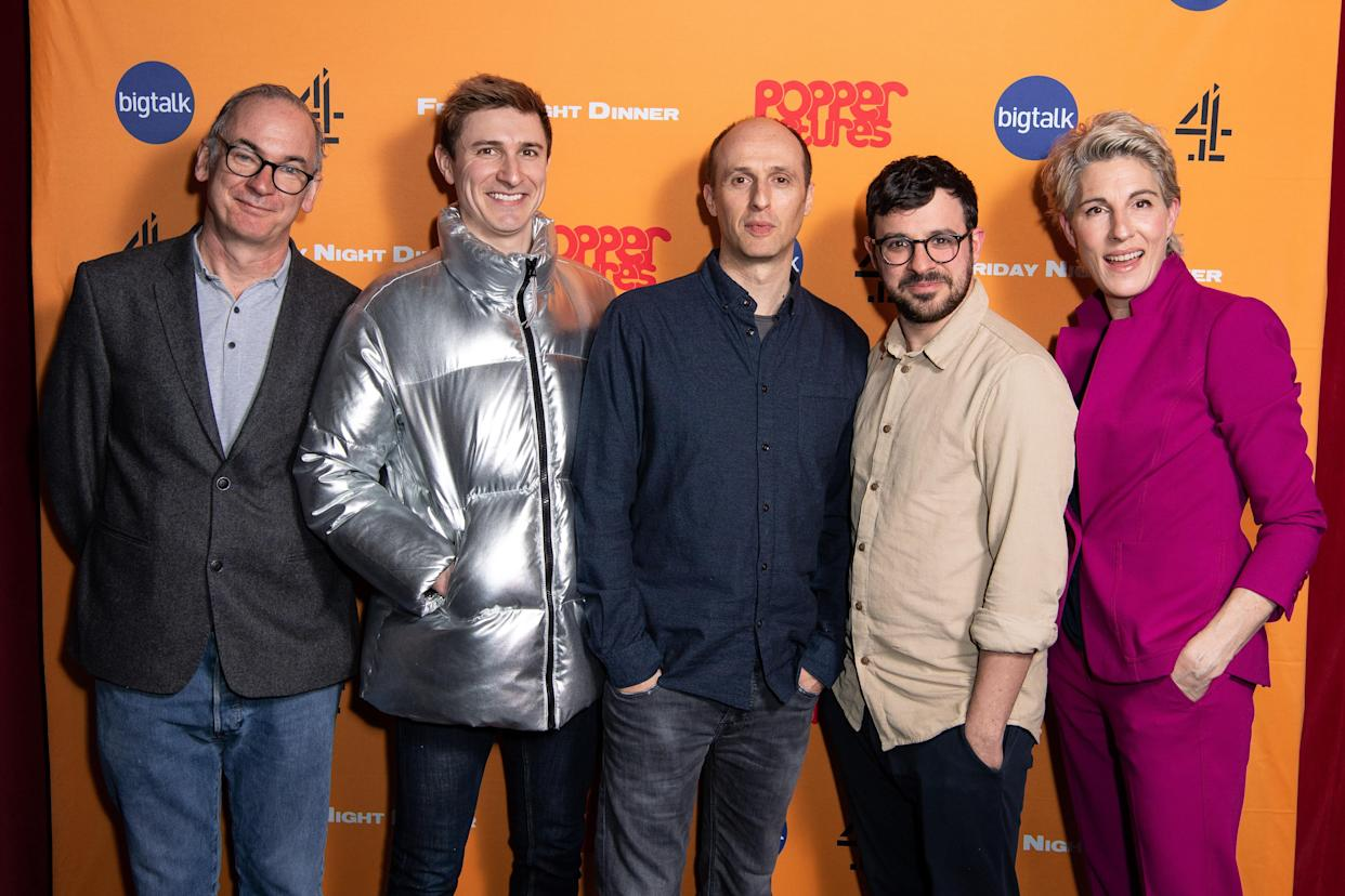 LONDON, ENGLAND - MARCH 09: (L-R) Paul Ritter, Tom Rosenthal, Robert Popper, Simon Bird and Tamsin Greig attend the