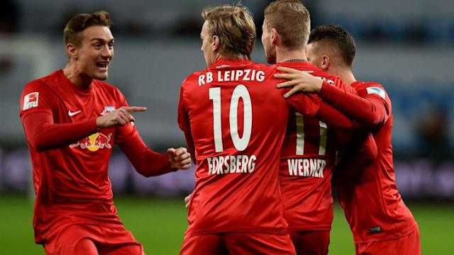 "In seven years of existence, <a class=""link rapid-noclick-resp"" href=""/soccer/teams/rb-leipzig/"" data-ylk=""slk:RB Leipzig"">RB Leipzig</a> has rocketed from the fifth division to the top of the Bundesliga table, testing the limits of rules and fan patience allong the way. (Omnisport)"