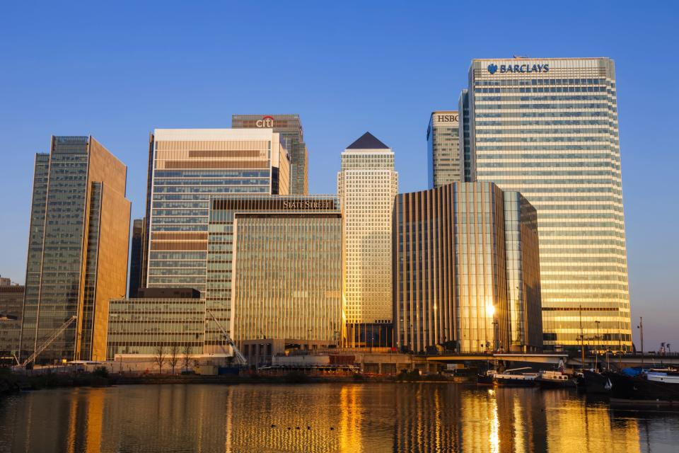 London's financial district, Canary Wharf. Photo: Prisma by Dukas/UIG via Getty Images