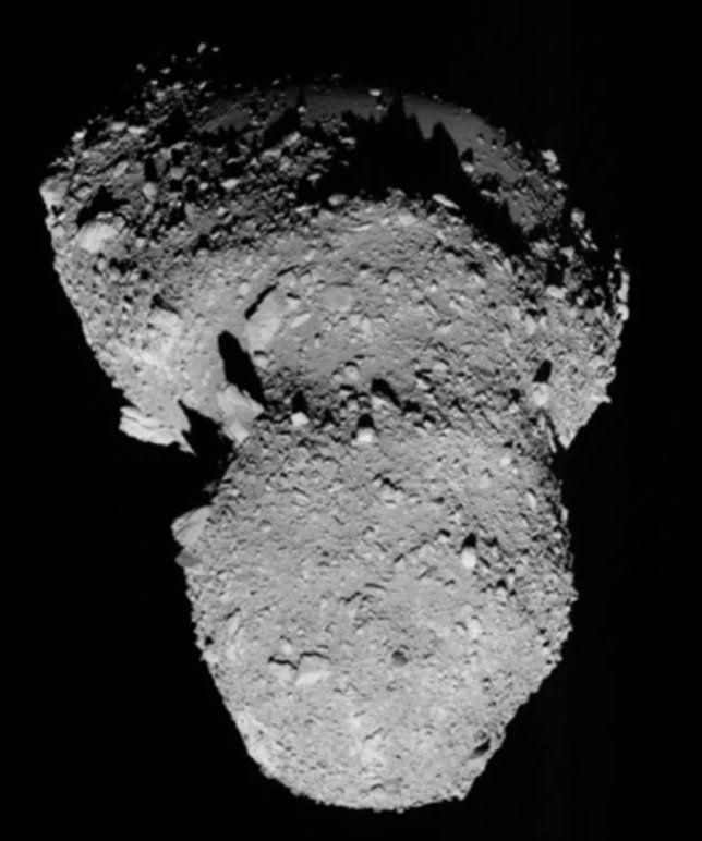 Itokawa asteroid photographed by Japans Hayabusa spacecraft.