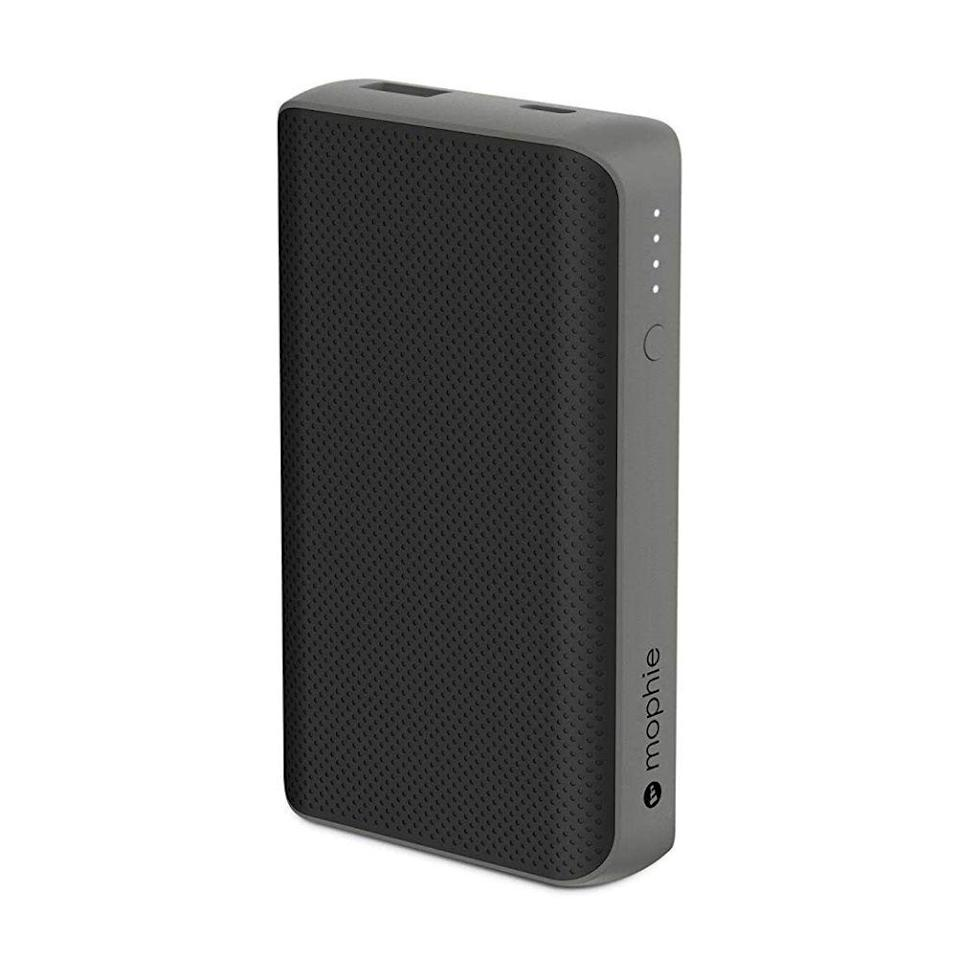 """<p><strong>mophie</strong></p><p>amazon.com</p><p><strong>$29.35</strong></p><p><a href=""""http://www.amazon.com/dp/B07MW1G2DJ/?tag=syn-yahoo-20&ascsubtag=%5Bartid%7C2089.g.864%5Bsrc%7Cyahoo-us"""" rel=""""nofollow noopener"""" target=""""_blank"""" data-ylk=""""slk:Shop Now"""" class=""""link rapid-noclick-resp"""">Shop Now</a></p><p>The mophie powerstation PD is a stylish and portable battery pack, capable of charging your smartphone alongside your other gadgets blisteringly fast. The accessory has both a USB-C and a full USB connector, so it's impressively versatile. </p><p>The powerstation PD has a battery capacity of 6,000 mAh — enough to fully charge your phone and have energy to spare for other devices. A <a href=""""https://www.amazon.com/dp/B07MW15J89?tag=syn-yahoo-20&ascsubtag=%5Bartid%7C2089.g.864%5Bsrc%7Cyahoo-us"""" rel=""""nofollow noopener"""" target=""""_blank"""" data-ylk=""""slk:powerstation PD XL"""" class=""""link rapid-noclick-resp"""">powerstation PD XL</a> variant with 10,000 mAh capacity is also available for those who need more power on the go.</p>"""