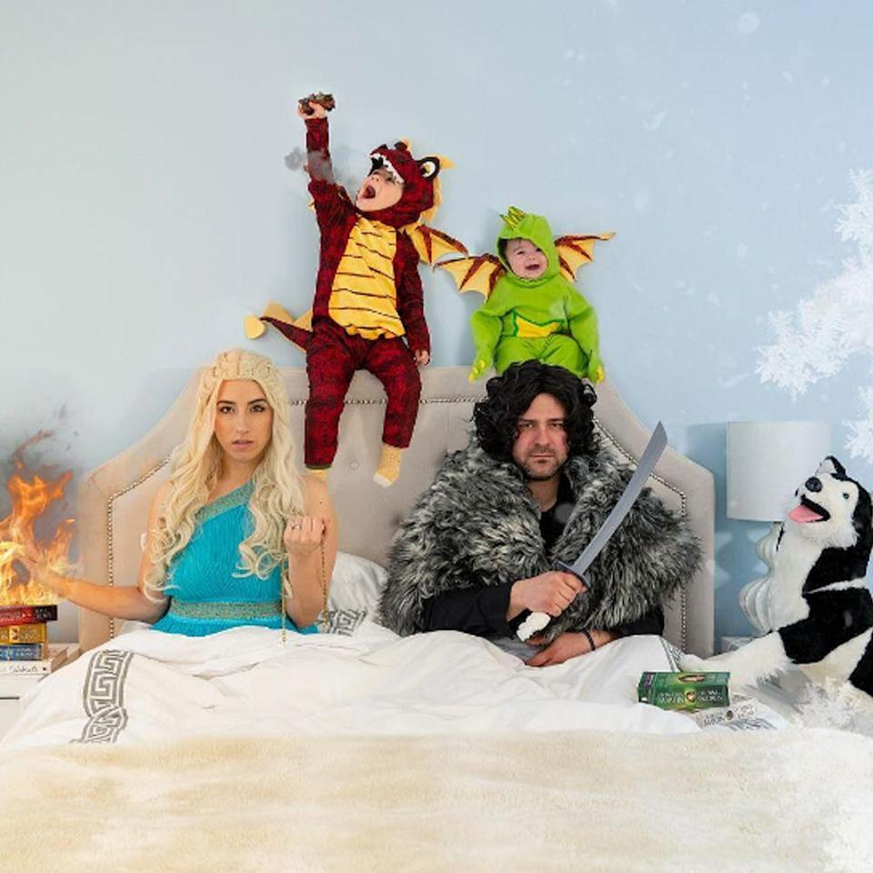 """<p>Got two or three little kids? Dress them up as Dany's dragons and have your partner go as Jon Snow. We can at least pretend the <em>GoT</em> characters all <em>lived</em> happily ever after.</p><p><a class=""""link rapid-noclick-resp"""" href=""""https://www.amazon.com/s?k=game+of+thrones+costume&crid=ZYWY01RTA44H&sprefix=Game+of+Thrones+cost%2Caps%2C179&ref=nb_sb_ss_i_1_20&tag=syn-yahoo-20&ascsubtag=%5Bartid%7C2089.g.22530616%5Bsrc%7Cyahoo-us"""" rel=""""nofollow noopener"""" target=""""_blank"""" data-ylk=""""slk:SHOP THE LOOKS"""">SHOP THE LOOKS</a></p><p><strong>Instagram:</strong> <a href=""""https://www.instagram.com/p/BwPezCThTG0/"""" rel=""""nofollow noopener"""" target=""""_blank"""" data-ylk=""""slk:@annawithlove"""" class=""""link rapid-noclick-resp"""">@annawithlove</a></p>"""