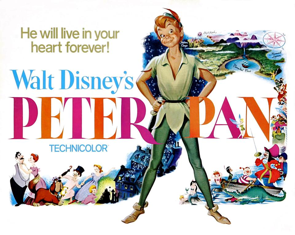 Peter Pan, poster,  (center), 1953. (Photo by LMPC via Getty Images)