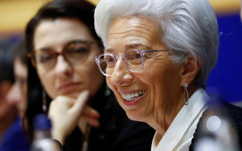 FILE PHOTO: European Central Bank President Lagarde testifies before the EU Parliament's Economic and Monetary Affairs Committee in Brussels