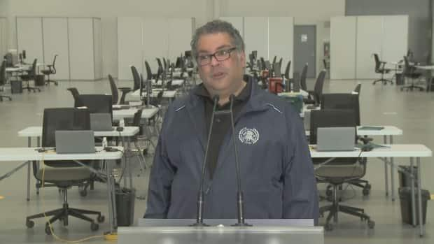 Mayor Naheed Nenshi said at a news conference Saturday things are looking grim, a few days after the province reported 4,058 active cases in Calgary. (City of Calgary - image credit)