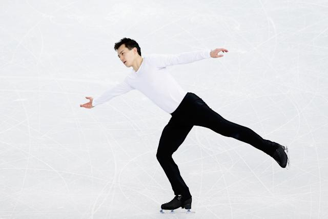 Patrick Chan of Canada practices his routine during Figure Skating training ahead of the Sochi 2014 Winter Olympics at Iceberg Skating Palace on February 3, 2014 in Sochi, Russia. (Photo by Matthew Stockman/Getty Images)