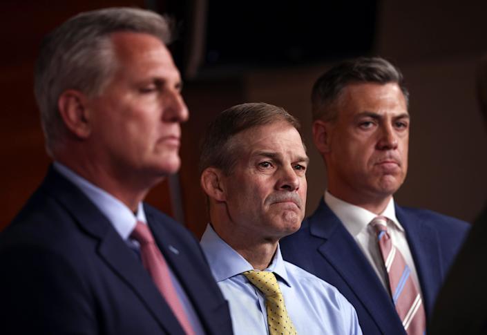 Left to right, House Minority Leader Kevin McCarthy, Rep. Jim Jordan and Rep. Jim Banks on July 21, 2021 in Washington, D.C.