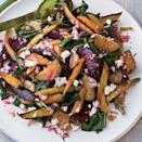 """<p>Roasted Beets & Carrots with Goat's Cheese DressingF&W's Grace Parisi makes a simple, creamy dressing by whisking fresh goat's cheese with vinegar and oil; she tosses it with a salad of warm roasted beets and beet greens, which brings us to another good rule: Eat vegetables from root to leaf when possible.</p><p>Get the <a href=""""http://www.delish.com/uk/cooking/recipes/a33262688/roasted-beets-carrots-goat-cheese-dressing-recipe-fw1111/"""" rel=""""nofollow noopener"""" target=""""_blank"""" data-ylk=""""slk:Roasted Beets & Carrots with Goat's Cheese Dressing"""" class=""""link rapid-noclick-resp"""">Roasted Beets & Carrots with Goat's Cheese Dressing</a> recipe.</p>"""
