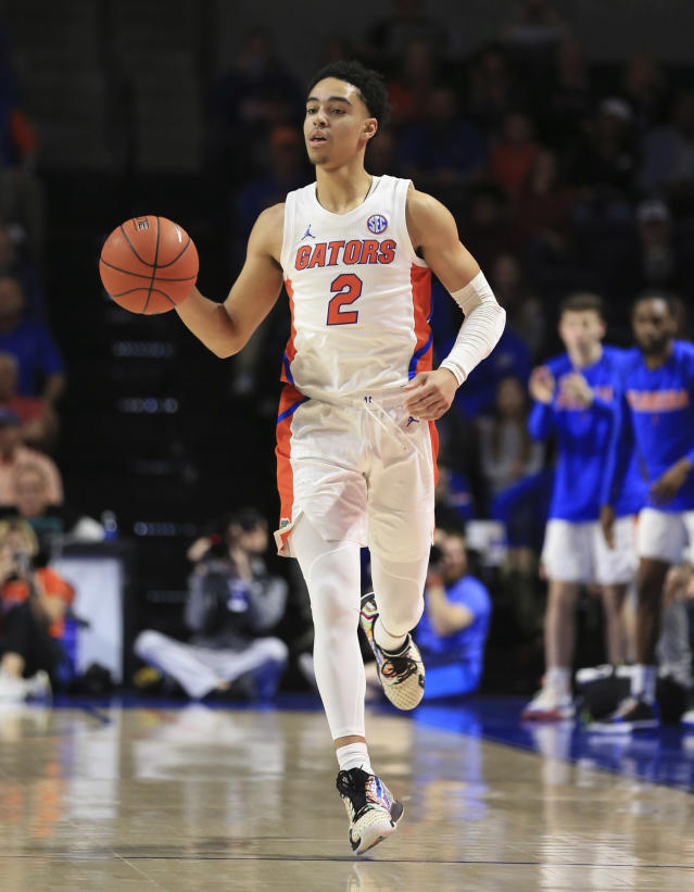 Florida guard Andrew Nembhard (2) dribbles against Baylor during the first half of an NCAA college basketball game Saturday, Jan. 25, 2020, in Gainesville, Fla. (AP Photo/Matt Stamey)