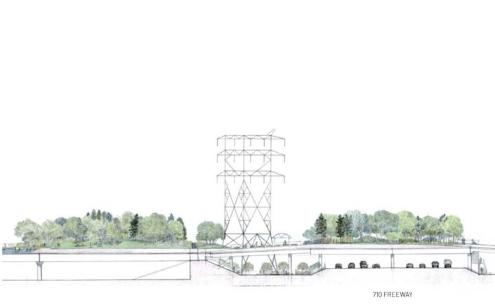 An artist's rendering of a proposed platform park alongside the 710 Freeway.
