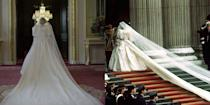 """<p>Princess Diana's iconic taffeta wedding dress with its 25-foot train and 153-yard tulle veil were recreated for season 4. The costume designers kept it as similar to the original as possible. """"The Emanuels, who designed the original, gave us the patterns, and then it was made for me,"""" actress Emma Corrin, who plays Princess Diana, told <a href=""""https://www.vogue.co.uk/arts-and-lifestyle/article/emma-corrin-interview"""" rel=""""nofollow noopener"""" target=""""_blank"""" data-ylk=""""slk:British Vogue"""" class=""""link rapid-noclick-resp"""">British Vogue</a>. </p>"""