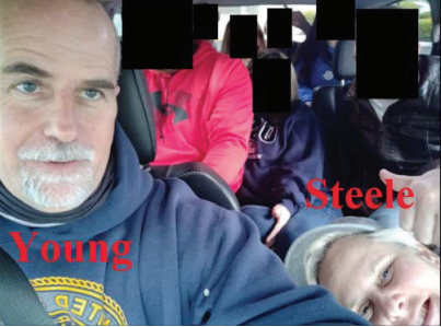 A photo taken inside a van shows Graydon Young and Laura Steele, his sister, and others on their way to Washington, D.C.