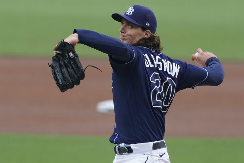 Tampa Bay Rays starting pitcher Tyler Glasnow throws against the New York Yankees during the first inning in Game 2 of a baseball American League Division Series Tuesday, Oct. 6, 2020, in San Diego. (AP Photo/Jae C. Hong)