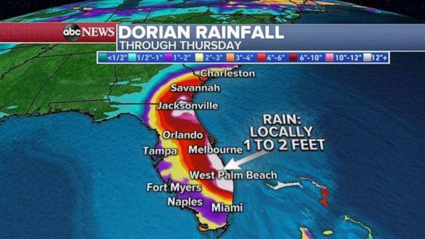 PHOTO: Rainfalls of 1 to 2 feet are expected through Thursday in parts of Florida. (ABC News)
