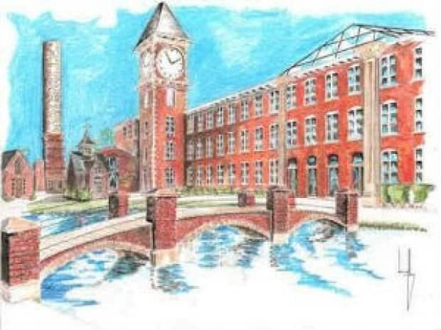 This artist rendering was included in a 2009 real estate listing for 'Mill Island,' a complex that was supposed to have upscale condos, fine dining and specialty shops. The developers behind the project put the building up for sale in 2013.