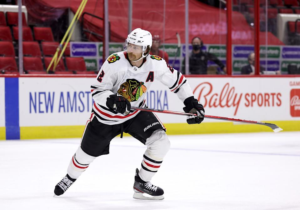 RALEIGH, NC - MAY 4: Duncan Keith #2 of the Chicago Blackhawks skates for position on the ice during an NHL game against the Carolina Hurricanes on May 4, 2021 at PNC Arena in Raleigh, North Carolina. (Photo by Gregg Forwerck/NHLI via Getty Images)