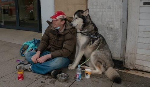 """<span class=""""caption"""">Homeless people often have difficulty finding enough to eat in normal times; the pandemic made things even harder.</span> <span class=""""attribution""""><a class=""""link rapid-noclick-resp"""" href=""""https://www.shutterstock.com/image-photo/stirling-scotland-uk-february-27-2021-1929934409"""" rel=""""nofollow noopener"""" target=""""_blank"""" data-ylk=""""slk:Vineeth Jose Vincent/Shutterstock"""">Vineeth Jose Vincent/Shutterstock</a></span>"""