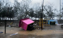 ALIBAUG, INDIA - JUNE 3: Impact after Nisarga Cyclone hit on June 3, 2020 in Alibaug, India. Alibaug witnessed wind speeds of up to 120 kilometres per hour. Although the cyclone made the landfall just 95 kilometres from Mumbai, the Maharashtra capital largely escaped its wrath. (Photo by Satish Bate/Hindustan Times via Getty Images)