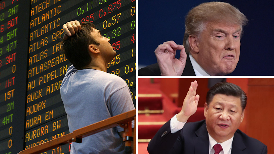 Share markets on Wall Street and Australia have tumbled after the US-China trade war stepped up a notch. (Source: Getty)