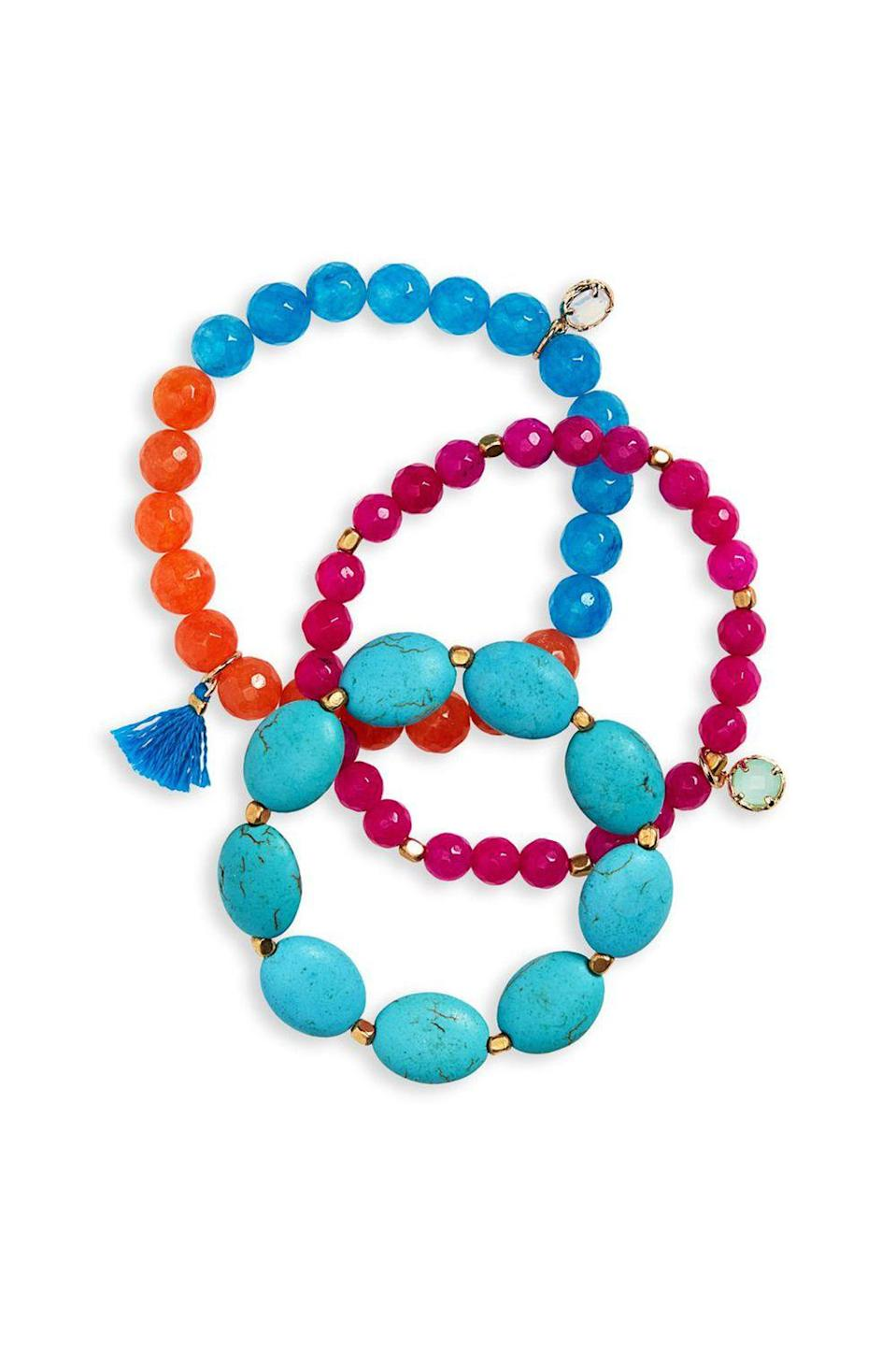 """<p><strong>Panacea</strong></p><p>nordstrom.com</p><p><strong>$34.00</strong></p><p><a href=""""https://shop.nordstrom.com/s/panacea-set-of-3-stretch-bracelets/5140847"""" rel=""""nofollow noopener"""" target=""""_blank"""" data-ylk=""""slk:SHOP IT"""" class=""""link rapid-noclick-resp"""">SHOP IT</a></p><p>To highlight your sun-kissed skin even more, slip on this set of warm teal and orange hued bracelets this summer. When worn separately, they're an easy way to add rainbow pieces to your collection. When worn together it's a full-on arm party. </p>"""