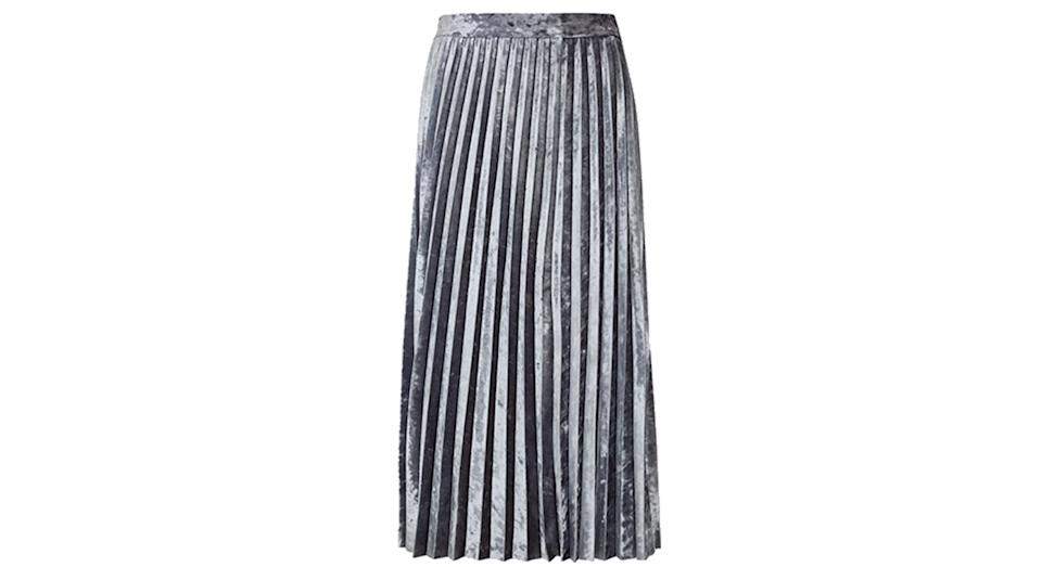 Jersey Velvet Pleated Midi Skirt