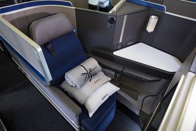 A United Polaris business class seat onboard one of the newly reconfigured 767-300ER aircraft that features 16 additional Polaris business class seats, which all have direct aisle access.