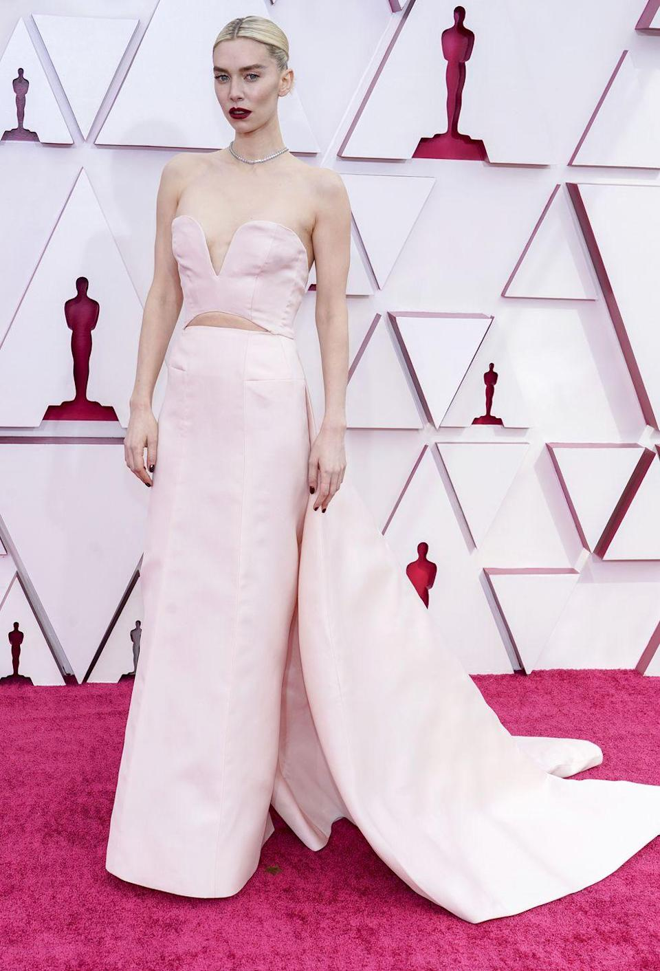 <p>Vanessa Kirby in a custom Gucci gown and Cartier jewellery.</p>